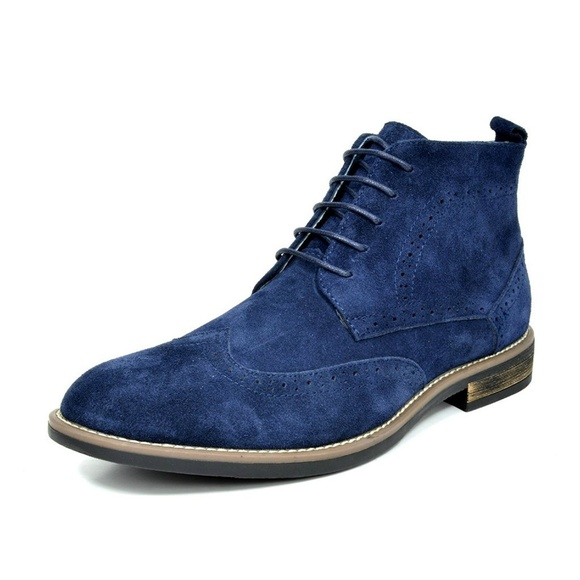 Shoes | Mens Navy Suede Leather Lace Up